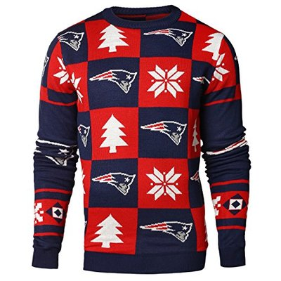 NFL NEW ENGLAND PATRIOTS PATCHES Ugly Sweater, Large