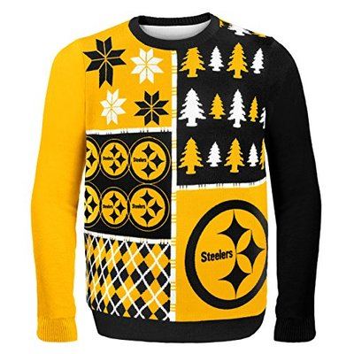NFL Pittsburgh Steelers BUSY BLOCK Ugly Sweater, Large