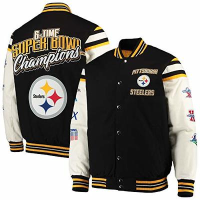 G-III Sports NFL Pittsburgh Steelers 6 Time Super Bowl Champions Victory Formation Varsity Jacket (XXXX-Large)