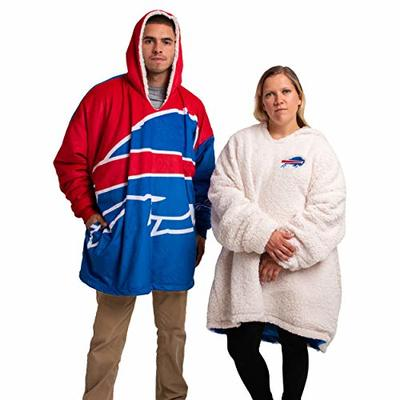 FOCO NFL Buffalo Bills Unisex Reversible Oversized Sherpa Hoodie Sweatshirt Colorblock HoodeezReversible Oversized Sherpa Hoodie Sweatshirt Colorblock Hoodeez, Colorblock, One Size (HDONFSMURBUSQVC)