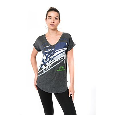 Ultra Game NFL Seattle Seahawks Womens Vintage Stripe Soft Modal Tee Shirt, Charcoal Heather, Large