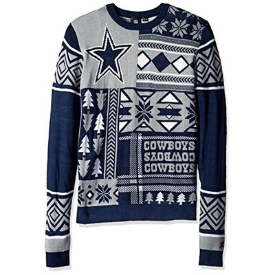 NFL DALLAS COWBOYS PATCHES Ugly Sweater, Large