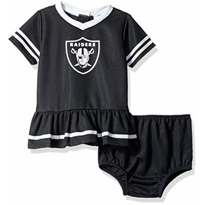 NFL Oakland Raiders Team Jersey Dress and Diaper Cover, black/silver Oakland Raiders, 6-12 Months