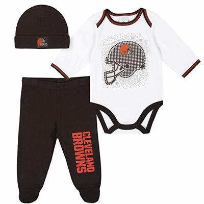 NFL Cleveland Browns 3 Pack Bodysuit Footed Pant and Cap Registry Gift Set, Brown/White Cleveland Browns, 6-9M