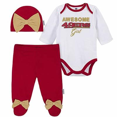 NFL San Francisco 49ers 3 Pack Bodysuit Footed Pant and Cap Registry Gift Set, red/white San Francisco 49ers, 6-9M