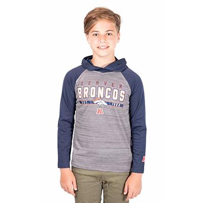 Ultra Game NFL Denver Broncos Youth Moisture Wicking Athletic Performance Pullover Sweatshirt Hoodie, Team Color, 14/16
