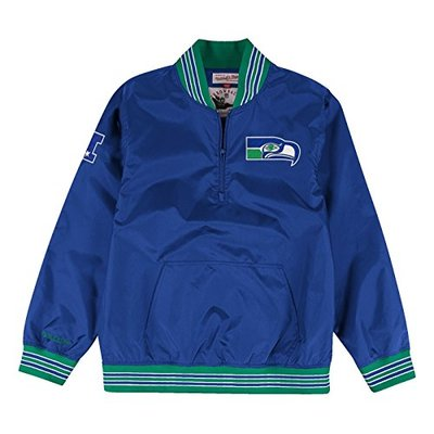 """Seattle Seahawks Mitchell & Ness NFL Men's """"Endzone"""" 1/4 Zip Pullover Jacket"""