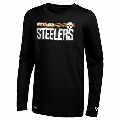 New Era NFL Men's Measured Dri-Tek Long Sleeve Tee, Pittsburgh Steelers Black Large