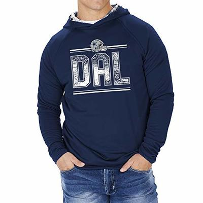 Zubaz NFL Dallas Cowboys Mens French Terry Lightweight Hoodie with Static Hood Liner, Solid Navy Blue, X-Large