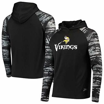 Zubaz NFL Men's Black Oxide Raglan French Terry Pullover Hoodie, Minnesota Vikings XX-Large