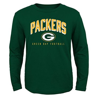 NFL Green Bay Packers Boys 8-20 Arched Standard Long Sleeve Tee, Hunter, X-Large