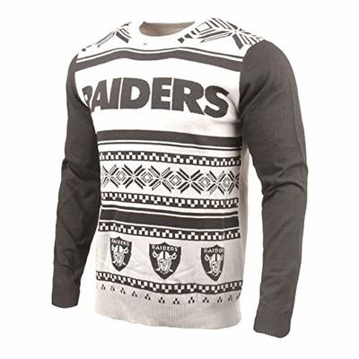 Klew NFL Oakland Raiders Two-Tone Cotton Ugly Sweater, Black, Large