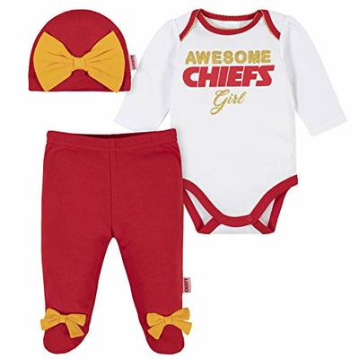 NFL Kansas City Chiefs 3 Pack Bodysuit Footed Pant and Cap Registry Gift Set, red/White Kansas City Chiefs, 0-3M