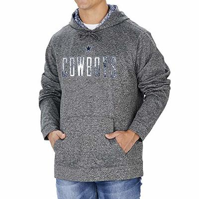Zubaz NFL Dallas Cowboys Mens Hoodie with Team Color Static Hood Liner, Heather Gray, Small