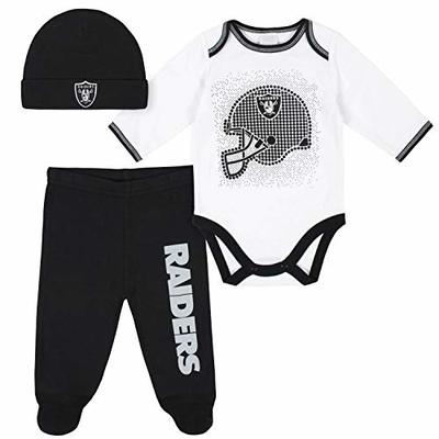 NFL Oakland Raiders 3 Pack Bodysuit Footed Pant and Cap Registry Gift Set, black/white Oakland Raiders, 0-3M