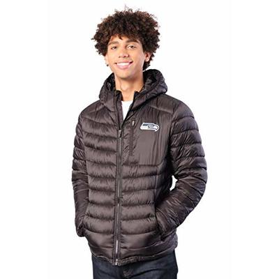 Ultra Game NFL Seattle Seahawks Mens Full Zip Puffer Jacket, Black, X-Large