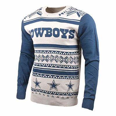 KLEW NFL Dallas Cowboys Two-Tone Cotton Ugly Sweater, Blue, Large
