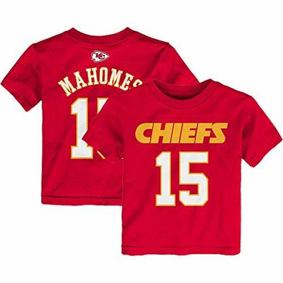 Outerstuff Patrick Mahomes Kansas City Chiefs NFL Boys Kids 4-7 Red Mainliner Official Player Name & Number T-Shirt (Kids 7)