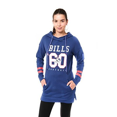 Ultra Game NFL Buffalo Bills Womens Tunic Hoodie Pullover Sweatshirt Terry, Team Color, Small