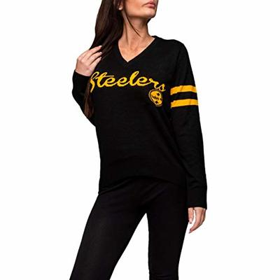 FOCO NFL Pittsburgh Steelers Womens Vintage Stripe Sweatervintage Stripe Sweater, Team Color, Small