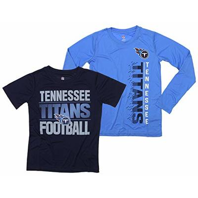 Outerstuff NFL Boys Youth Football Fan Two Performance T-Shirt Set, Tennessee Titans, Medium 10-12