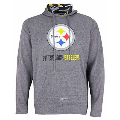 Zubaz NFL Men's Pittsburgh Steelers Grey Camo Hood Pullover Hoodie (Large)