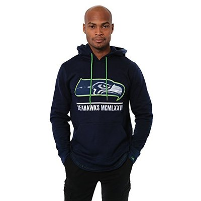 Ultra Game NFL Seattle Seahawks Mens Fleece Hoodie Pullover Sweatshirt Embroidered JTM1731A, Team Color, Small