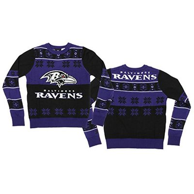 Outerstuff NFL Big Boys Youth Ugly Crewneck Sweater, Various Teams (Baltimore Ravens, Large (14-16))