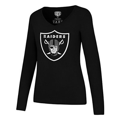 OTS NFL Oakland Raiders Women's Rival Long Sleeve Tee, Distressed Logo, Medium
