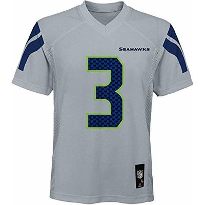 Outerstuff Russell Wilson Seattle Seahawks NFL Boys Youth 8-20 Gray Alternate Mid-Tier Jersey (Youth Medium 10-12)