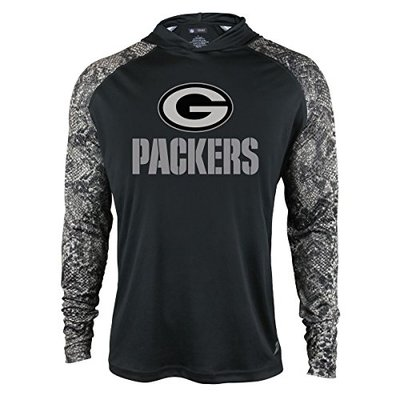 Zubaz NFL Green Bay Packers Men's Light Weight Synthetic Hood with Digital Print Sleeves, Large, Black