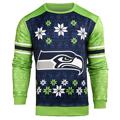 Forever Collectibles NFL Men's Printed Ugly Sweater,Seattle Seahawks