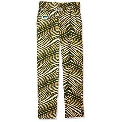 Zubaz NFL Green Bay Packers Mens Classic Zebra Printed Athletic Lounge Pants, Green/Gold Large