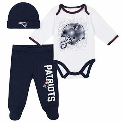 NFL New England Patriots 3 Pack Bodysuit Footed Pant and Cap Registry Gift Set, Blue/White New England Patriots, 0-3M