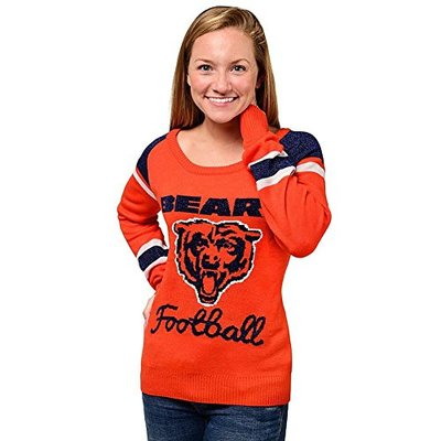 Forever Collectibles NFL Womens Chicago Bears Glitter Scoop Neck Sweater, Large