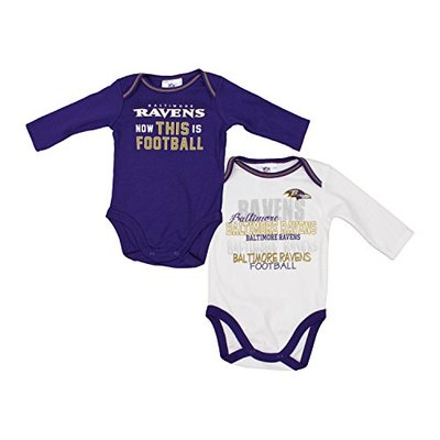 GERBER Baltimore Ravens NFL Baby Boys 2 Pack Long Sleeve Bodysuit Set, Purple – White