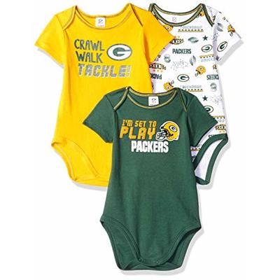 NFL Green Bay Packers 3 Pack Short Sleeve Bodysuit, green/gold/white Green Bay Packers, 18 Months