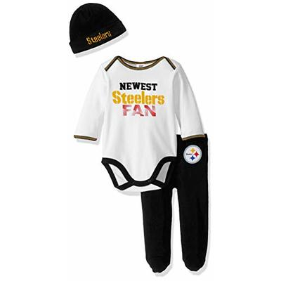 NFL Pittsburgh Steelers Boys BODYSUIT FOOTED PANT AND CAP, Team Color, 6-9M, 3 piece