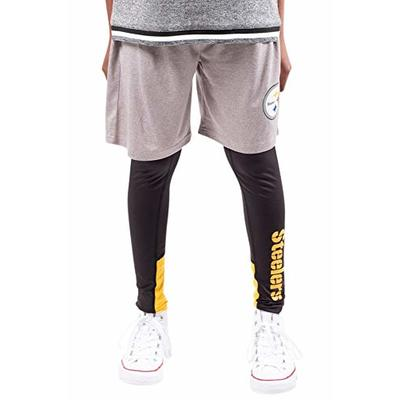Ultra Game NFL Pittsburgh Steelers Youth 2 Piece Leggings & Shorts Training Compression Set, Team Color, 8