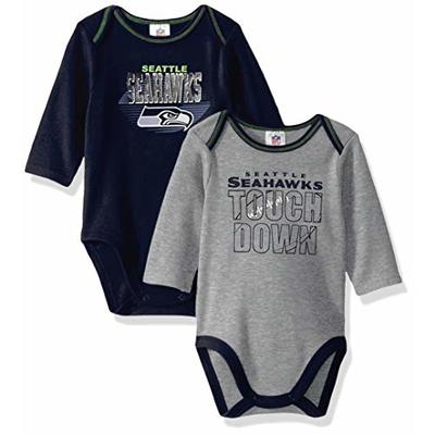 NFL Seattle Seahawks Boys 2 Pack Long Sleeve BODYSUIT, Team Color, 0-3M