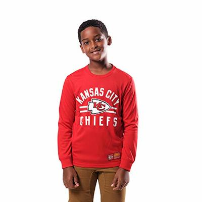 Ultra Game NFL Kansas City Chiefs Youth Super Soft Crew Neck Long Sleeve T-Shirt, Team Color, Large