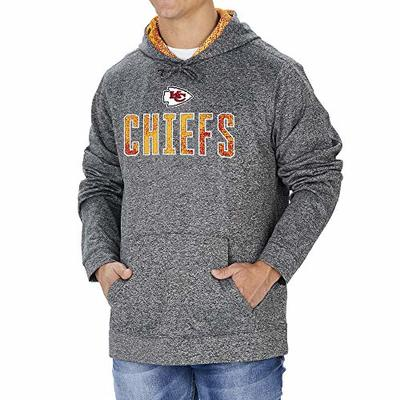 Zubaz NFL Kansas City Chiefs Men's Hoodie with Team Color Static Hood Liner, Heather Gray, X-Large