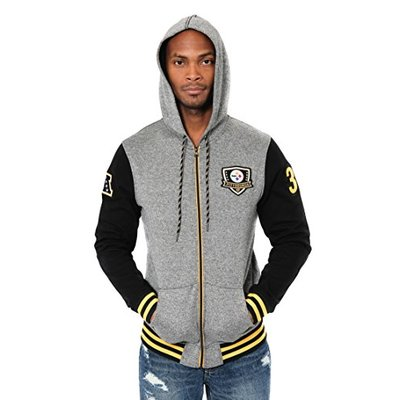 Ultra Game NFL Pittsburgh Steelers Mens Full Zip Soft Fleece Hoodie Letterman Varsity Jacket, Team Color, Large