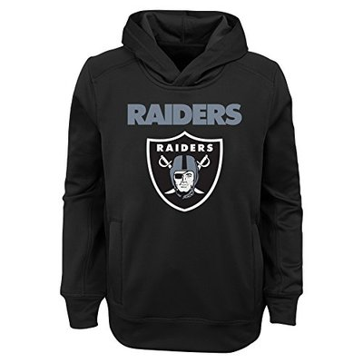"""NFL Oakland Raiders Youth Boys """"Goal Line Stand"""" Performance Fleece Hoodie Black, Youth Large(14-16)"""