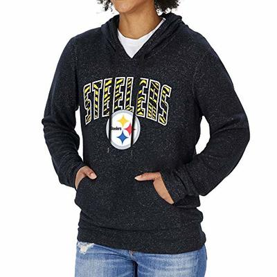 Zubaz NFL Pittsburgh Steelers Women's Soft Hoodie with Vertical Graphic, Black, Large