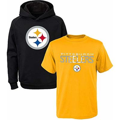 NFL Youth 8-20 Polyester Performance Primary Logo Hoodie & T-Shirt 2 Pack Set (Medium 10/12, Pittsburgh Steelers)