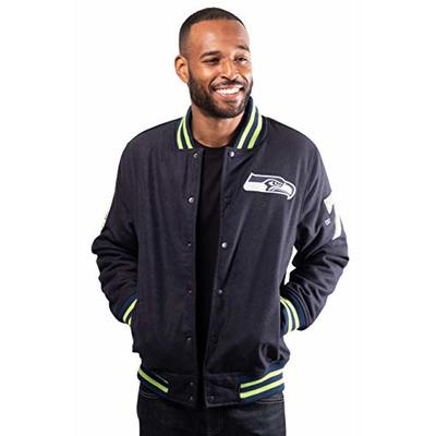 Ultra Game NFL Seattle Seahawks Mens Classic Varsity Coaches Jacket, Team Color, Large