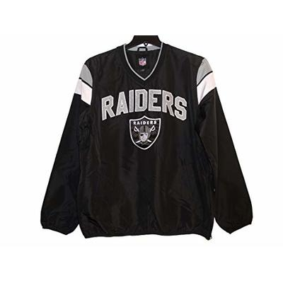 NFL Men's Las Vegas Raiders V-Neck Windbreaker Pullover SweatShirt Jacket (XX-Large)