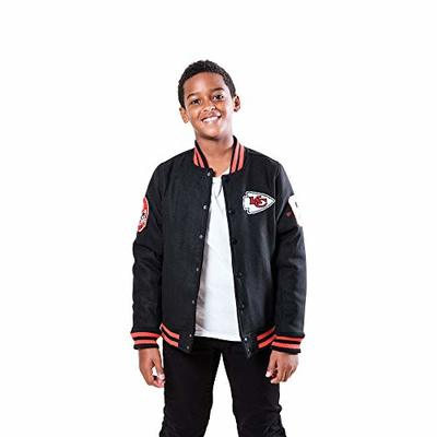 Ultra Game NFL Kansas City Chiefs Youth Classic Varsity Coaches Jacket, Team Color, 18/20