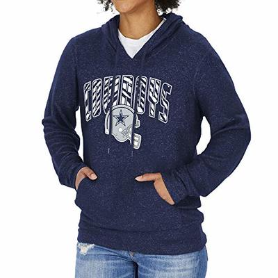 NFL Dallas Cowboys Womens Soft Hoodie with Zebra Graphic, Marled Navy Blue, Large